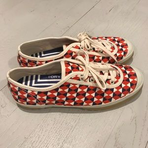 New Tory Burch sport canvas sneakers print red ...